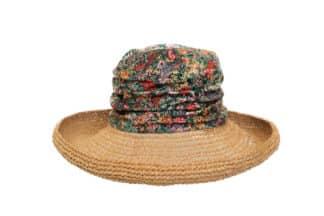 cappello floppy a fiori con tesa di paglia crochet Grevi