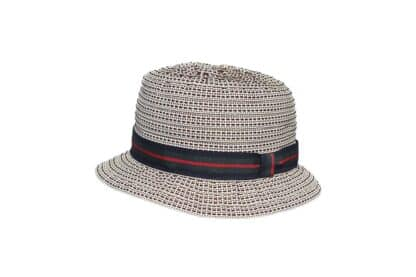 Cappello da pescatore per bambino in gros grain impunturato con nastro regimental.
