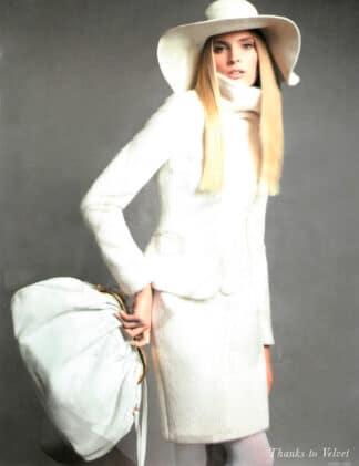 Cappello feltro falda larga grevi bianco